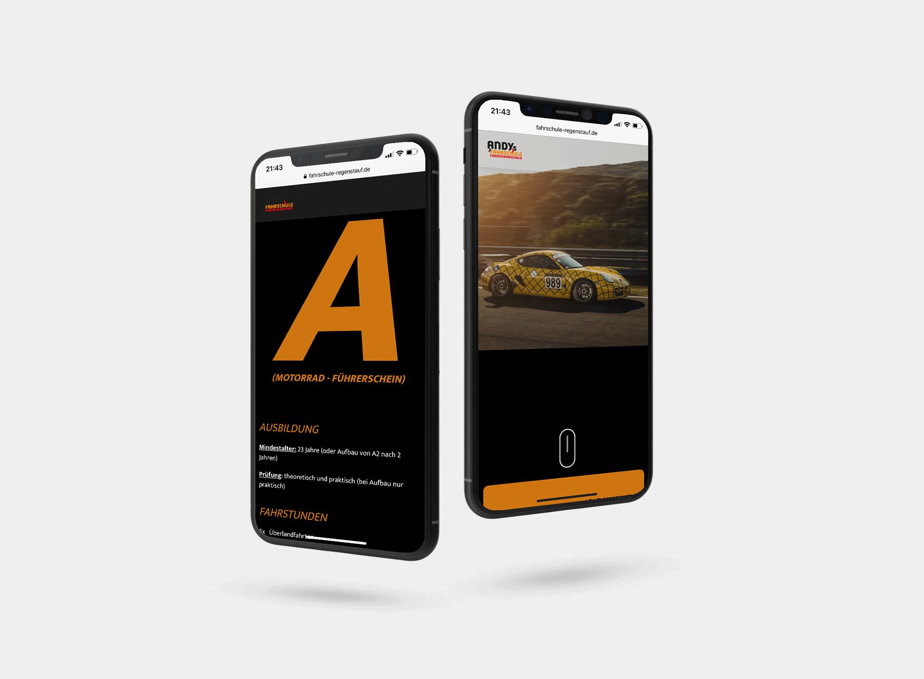 Webdesign Andys Fahrschule Regenstauf - iphone