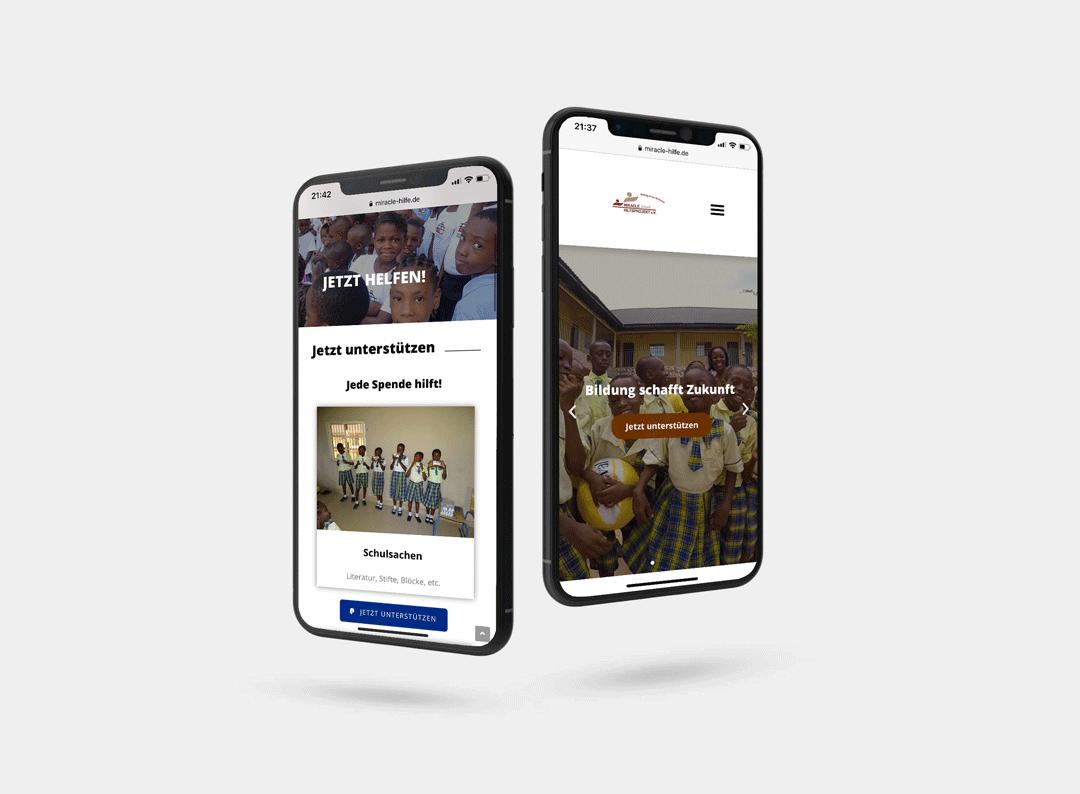 miracle's Hilfsprojekt e.V Webdesign - iphone